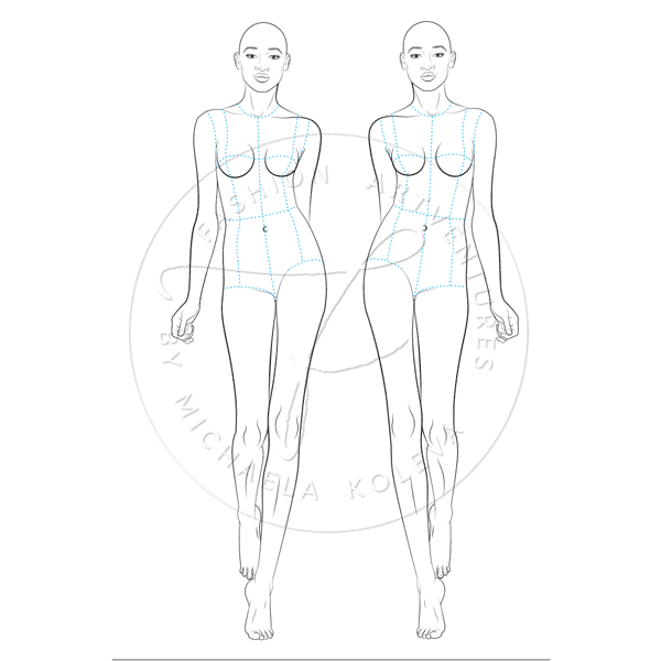 Female catwalk model fashion figure template maxwellsz
