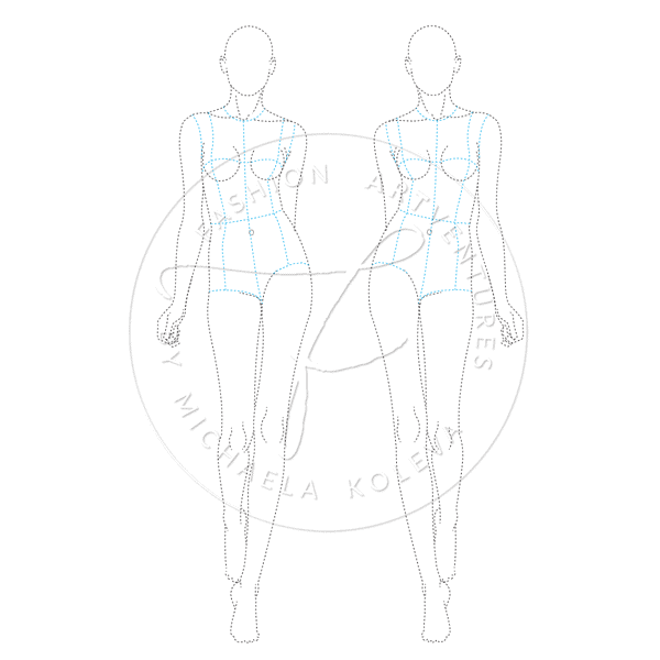 FEMALE CATWALK MODEL FASHION FIGURE TEMPLATE