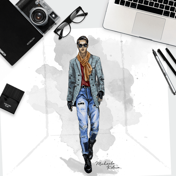 Male Catwalk Model | Fashion Illustration
